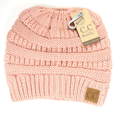 Solid Classic Ponytail CC Beanie - Indie Pink