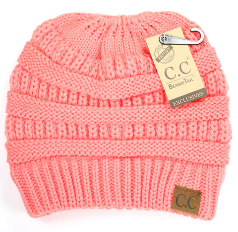Solid Classic Ponytail CC Beanie - Coral