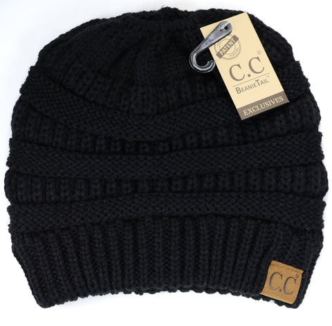 Solid Classic Ponytail CC Beanie - Black