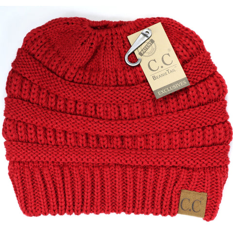 Solid Classic Ponytail CC Beanie - Red