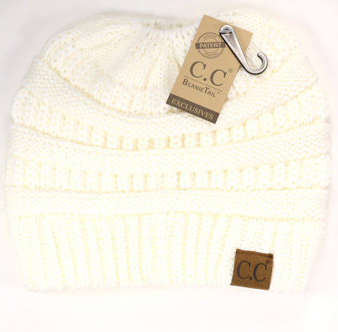 Solid Classic Ponytail CC Beanie - Ivory