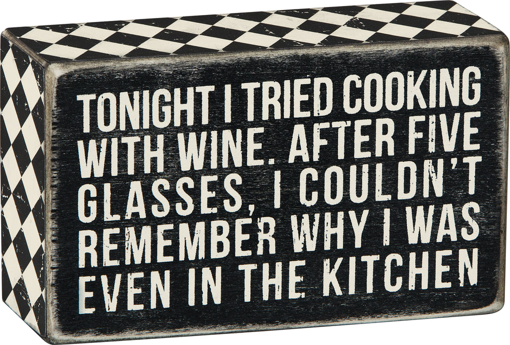 cooking with wine sign
