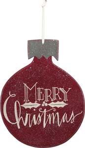 "Wood Ornament Sign - Red ""Merry Christmas"""