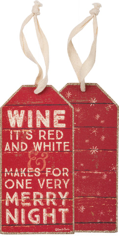 Bottle Tag - Red & White