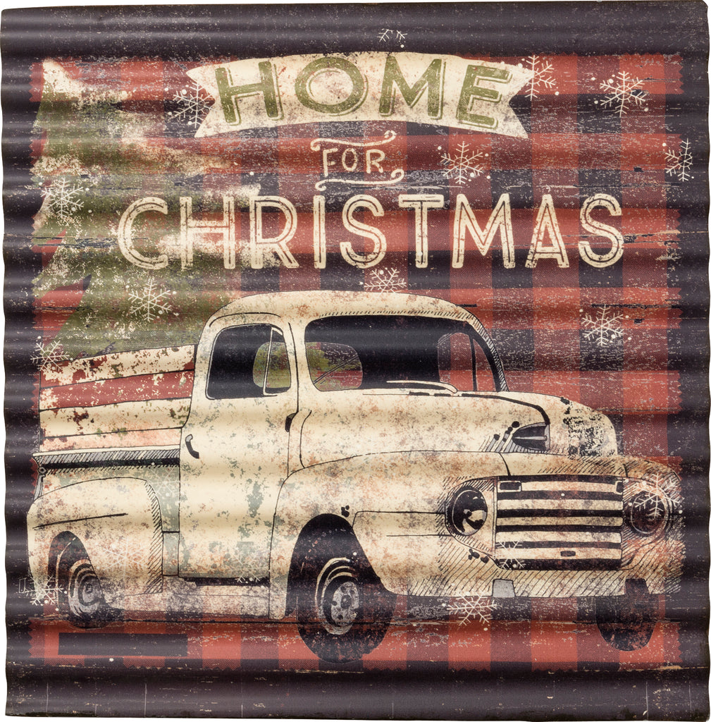 tin truck christmas sign