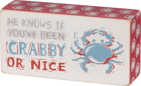Box Sign - Crabby Or Nice