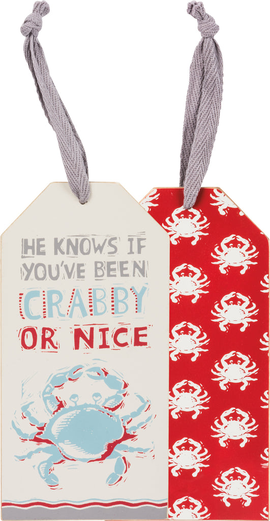 crab christmas wine bottle tag