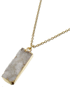 White Druzy & Gold Necklace