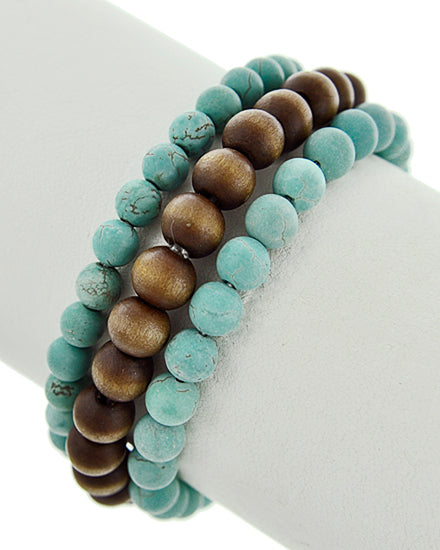 Set of 3 Turquoise & Wood Stretch Bracelets