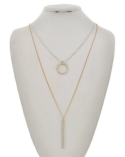Gold & Clear Rhinestone Layer Necklace