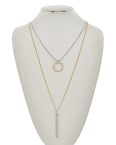 Gold & Silver Layer Long Necklace