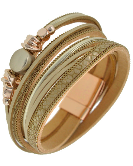 Rose Gold & Beige Wrap Bracelet