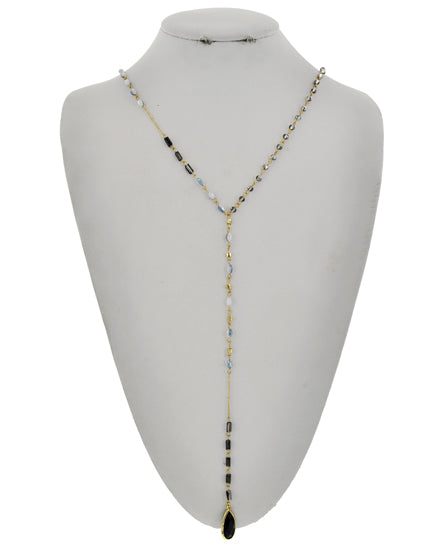 Black, Blue, & Gold Long Necklace