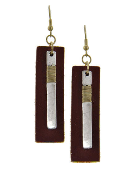Burgundy Leather Dangle Earrings