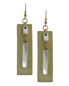 Beige Leather Dangle Earrings