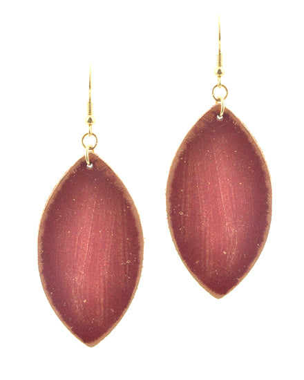 Red Leather Dangle Earrings