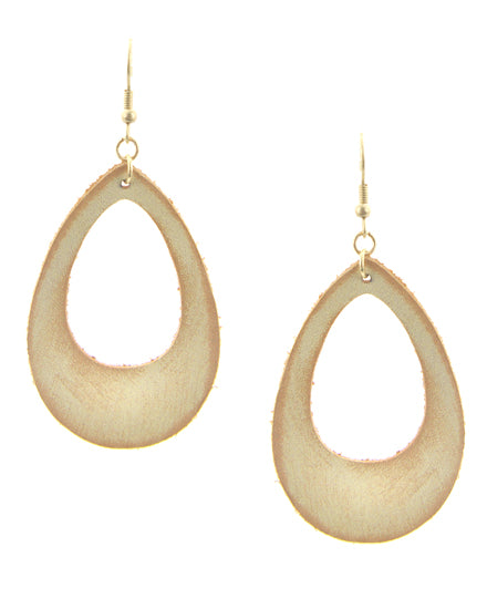 Gold & Natural Leather Dangle Earrings