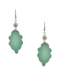 Turquoise Green Leather Dangle Earrings