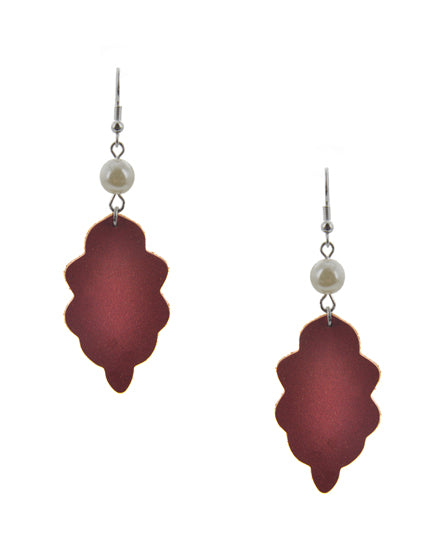 Red & Silver Leather Dangle Earrings