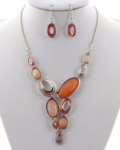 Peach & Silver Necklace/Earring Set
