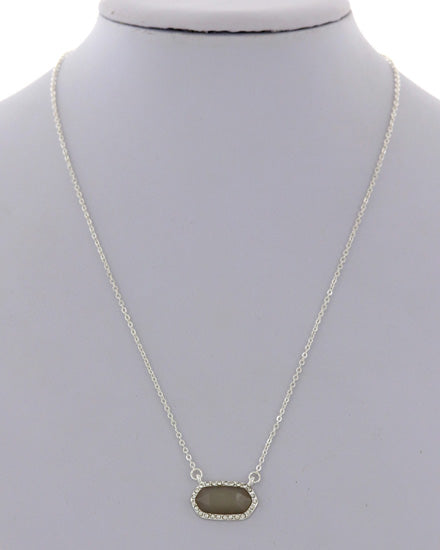Silver & Grey Small Pendent Necklace