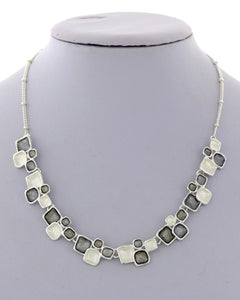 Short Silver and White Block Necklace