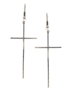 Silver Cross Dangle Earrings