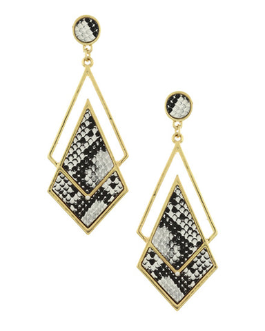 Animal Print & Gold Dangle Earrings