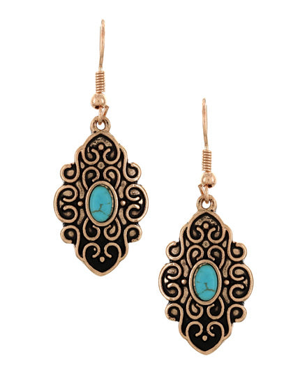 Copper & Turquoise Dangle Earrings