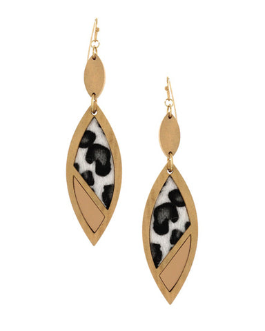 Animal Print Wood Dangle Earrings