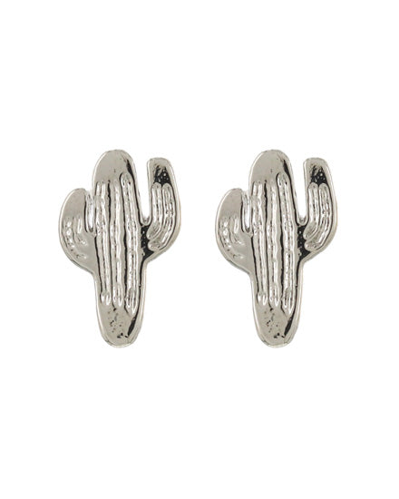 Silver Toned Cactus Earrings