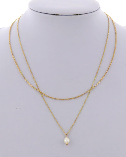 Gold & Pearl Layer Necklace