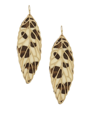Animal Print Leaf Dangle Earrings
