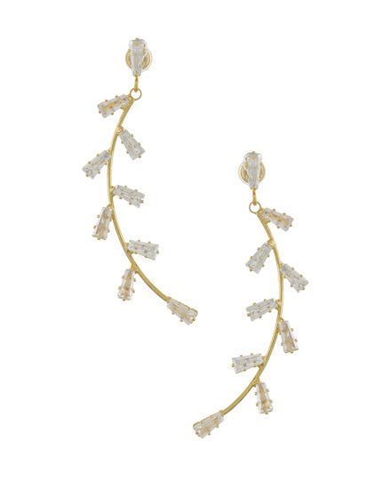 Dangle Curved Gold and Clear Earrings