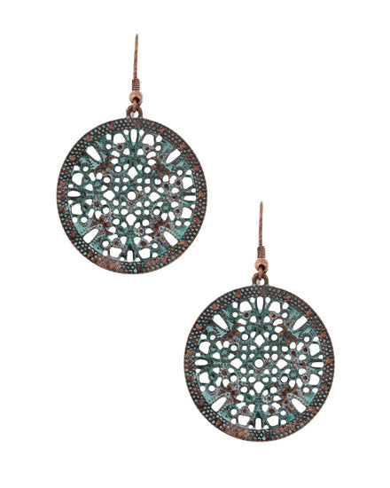 Copper and Patina Circle Dangle Earring
