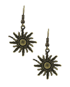 Burnished Gold Sun Earring
