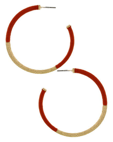 Red & Gold Loop Earring