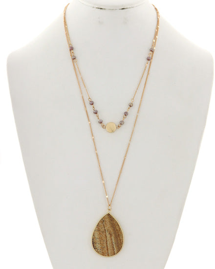 Double Layer Natural & Gold Pendant Necklace