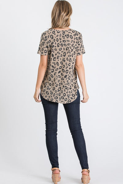 Criss Cross V-Neck Top - Taupe Leopard