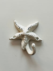 Cast Iron Starfish Hook - White