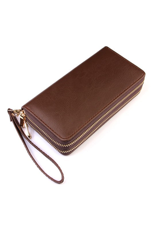 Double Zip Around Wallet - Brown