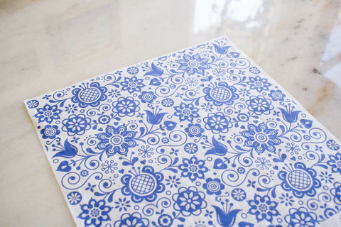 Blue Glass Ornate Decoupage Rice Paper