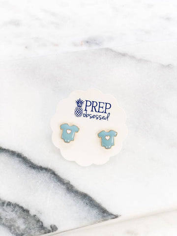 Baby Onesie Blue Enamel Stud Earrings