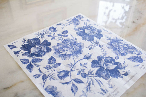 Blue Sketched Flowers Decoupage Rice Paper