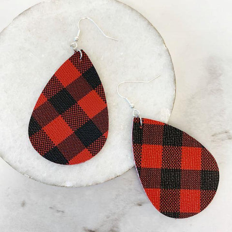 Buffalo Plaid Teardrop Dangle Earrings - Black/Red