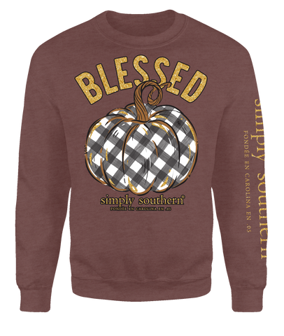 Blessed Buffalo Check Pumpkin Crewneck Sweatshirt