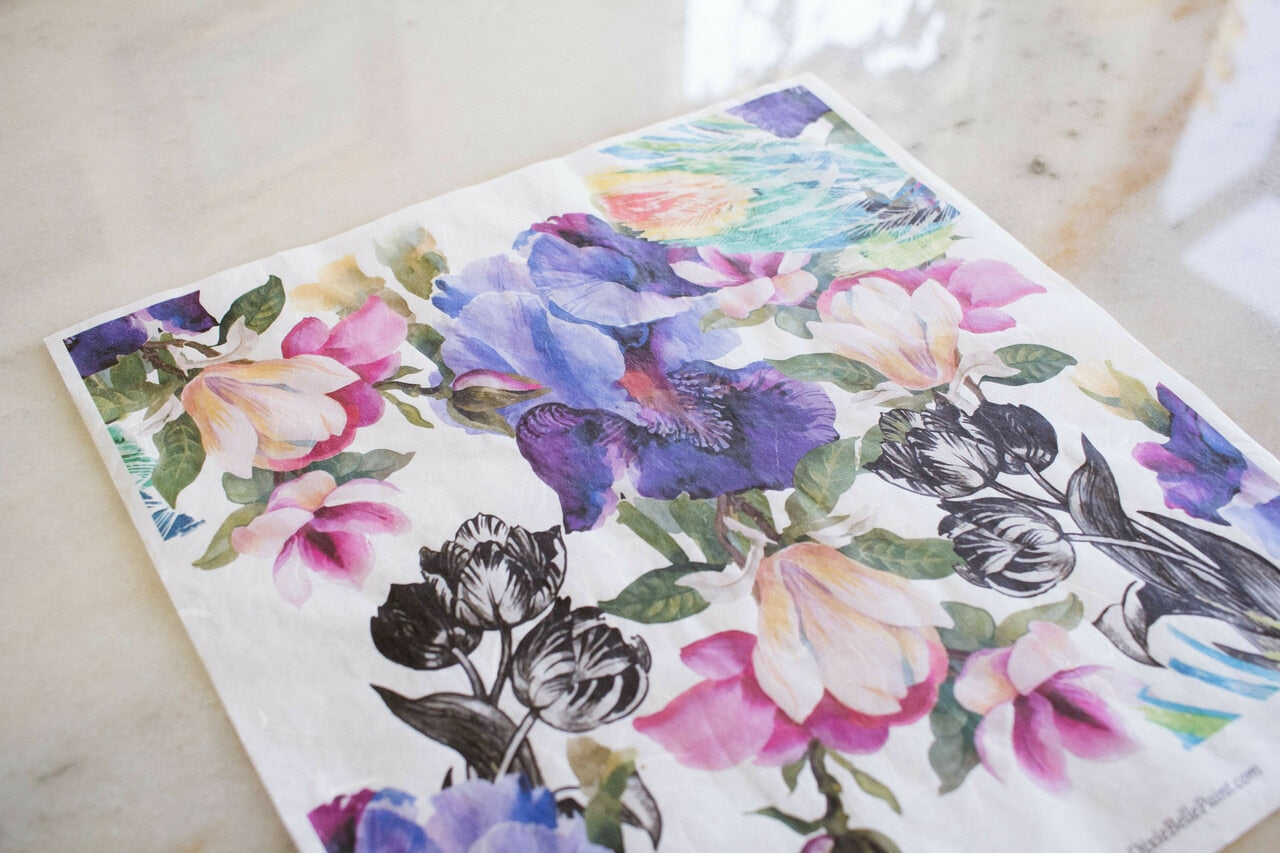 Colorful Floral with Black & White Decoupage Rice Paper
