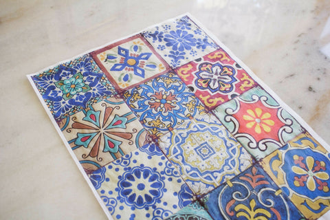 Colorful Tiles Decoupage Rice Paper