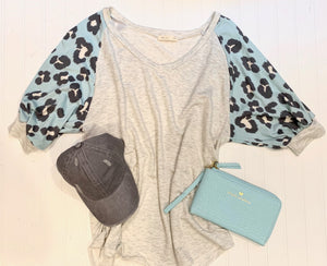Heather Gray & Pale Blue Leopard Shirt