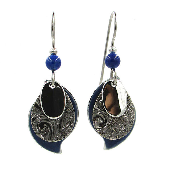 Dark Blue and Silver Earrings